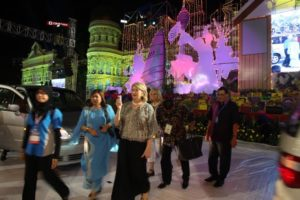 Arriving at Colors of 1 Malaysia - we were driven right onto center stage!