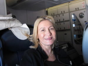 Here is Susan preparing for takeoff, disappointed that she was unable to use her Blackberry on the flight.