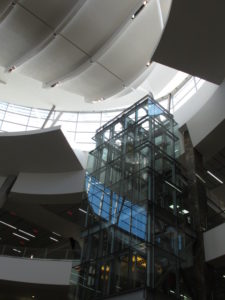 The modern architecture really impressed us, including this glass-walled elevator.