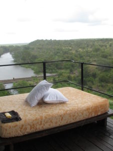 After the long journey, we were so pleased to arrive at Lebombo Lodge in the Singita Reserve.  This is a photo of my balcony overlooking the Sweni River that runs through the lodge property.