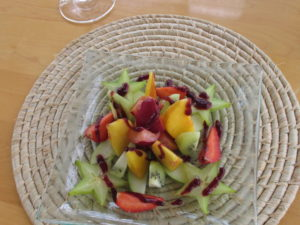 The fruit salads were also great - star fruit (carambola), kiwi, mango, strawberries, and plums.