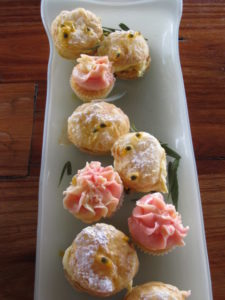 These small pâte à choux puffs, filled with passion fruit cream, were unbelievably delicious - as were the pink iced miniature cupcakes.