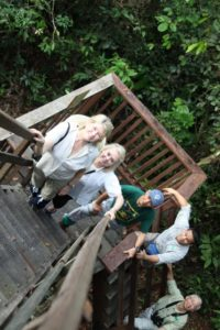 Here I am ascending the canopy walkway with Memrie, Adlin, guide Denny, and George