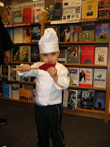The little chef woke up from his nap just in time to get his book signed.