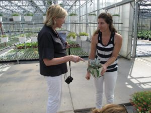 Here I am discussing how I use this plant with Heather - staff at Beds & Borders.