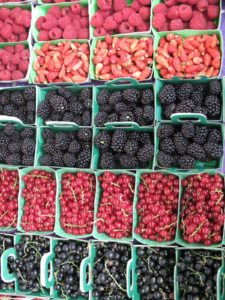 There were all types of fresh berries - black and red currants, blackberries, fraises des bois (Alpine strawberries), and red raspberries.