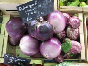 Several types of eggplants made me hungry for ratatouille