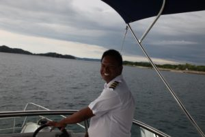 Our pleasant captain - The trip was about 20 minutes each way.