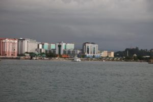 The skyline of Kota Kinabalu - situated on the tropical island of Borneo, it is the state capital of the Malaysian state Sabah.