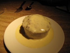 The house bread pudding with a creme anglaise