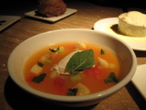 A fresh and cold fruit soup.