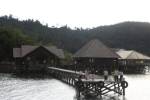 Approaching the landing dock of Gayana Eco Resort - This is the headquarters of the Marine Ecology Research Center (MERC), where they work passionately propagating endangered Giant Clams and restoring natural coral reefs.