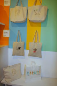 Some of the tote bags offered