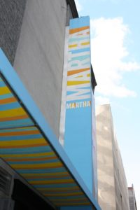 The colorful Martha banner adorning the studio, located in the Chelsea section of Manhattan