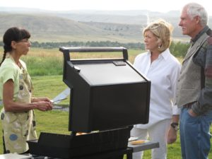 We just can't wait for our meal of bison - hamburgers and steaks - very, very good.