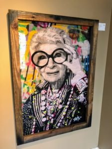 I also saw this painting of businesswoman, interior designer, and fashion icon, Iris Apfel.
