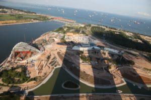 The elongated shadow of Marina Bay Sands