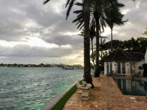 This is an early morning view from Lisbeth's Palm Beach home overlooking the Intracoastal Waterway, a 3,000-mile inland waterway along the Atlantic and Gulf of Mexico coasts.