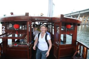 Next, we boarded a bumboat for a river tour.  This is Mary Ann,  our coordinating producer.