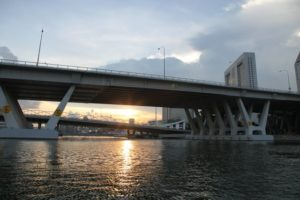 Some of the many bridges in Singapore spanning the Singapore River