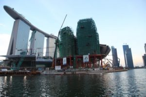 Passing by the construction at Marina Bay Sands