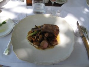 Baby lamb from a neighboring farm was served along with braised farm vegetables, harvested from the restaurant's garden.
