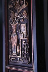 Unlike traditional museums, guests are able to feel and enjoy the walls and furnishings.  This is a beautiful and elaborately carved wall panel.