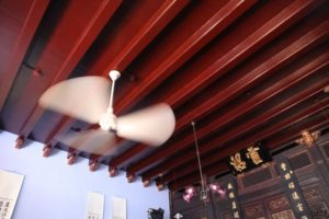 The house, which was built in 1895, is surprisingly cool in this hot and humid climate.  The interior was intentionally made dark to help bring down the temperature.  Ceiling fans keep one the interior quite comfortable.