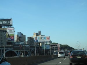 Driving to the television studio along the West Side Highway, you pass by many billboards, including one with me on it!