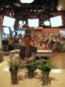 Andrea Mason - garden expert/stylist - giving these beautiful ferns a little misting before the show.  Andrea keeps all the plants in the TV greenhouse in really good shape.