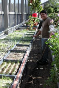 Wilmer has been busy in the greenhouse planting seeds for the vegetable garden.