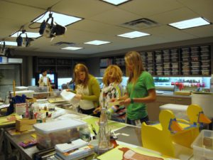 The art Department busy at work - this area of the studio is always so much fun.  You may recognize the duck project from yesterday's show.