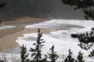 This is Sand Beach on the Park Loop Road and it is still two hours until high tide.
