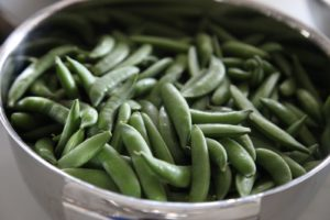Sugar snap peas trimmed and washed