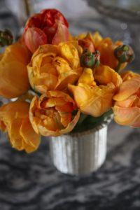 Double orange tulips - they looked a bit like ranunculus.