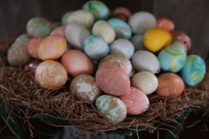 A closeup of the marbled eggs - this technique was adapted from the old Italian art of paper marbelizing.