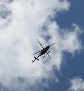 Overhead was a very curious helicopter, which hovered for quite a while.
