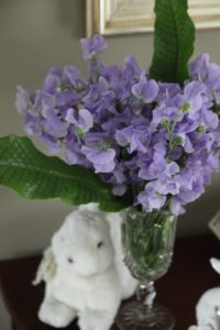 More bunnies on another demilune table - shaded by lavender sweet peas from Italy.