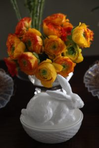 Another bunny dish - great for candy - looked wonderful on a table with deep orange ranunculus.