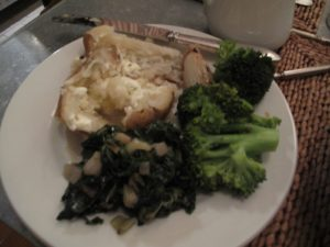 Sauteed Swiss chard, potato, and broccoli - simple, fresh, nutritious