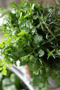 Fresh herbs - chervil, rosemary, and young parsley - also from the cold house.