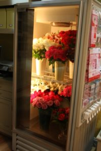 This is our floral refrigerator, keeping gorgeous blooms fresh.