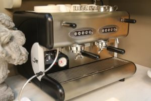 This is the same cappuccino machine that I use at home - it's made by Leodoro Espresso Company.