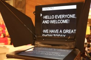 A teleprompter, ready for the intro