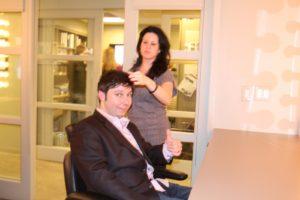 Eliad getting coiffed by Nicole Detweiler, show hair stylist