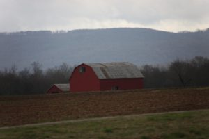 Gambrel roof barns are common here in the countryside.  in some places the topsoil is 60-feet deep!