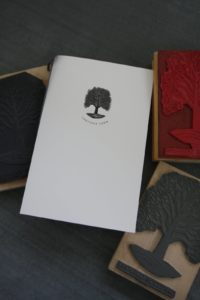 The dinner menu - I love the sycamore trees growing on my property and decided to make the sycamore the logo of the farm.  I had a beautiful engraving done and from that engraving, rubber ink stamps were made.