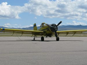 After landing at the airport in Montana, we saw this old single-engine crop duster on the tarmac.