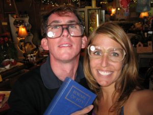 Kevin and Mary tried on vintage glasses and hammed it up a bit.