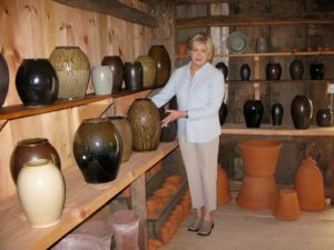 Here I am admiring some of Guy's 'One of a Kind' collection.  These pots are spectacular.
